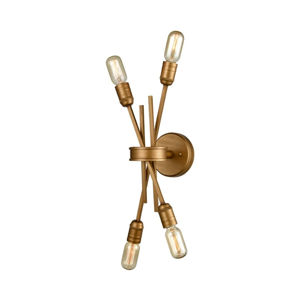 Franklite Idaho 4 Light Wall Light Or Flush Fitting Antique Gold Finish Wall Lights From Envogue Lighting Uk